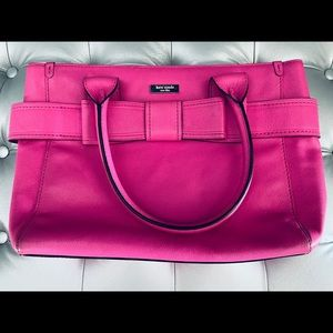 Kate Spade Pink Leather Bow Bag - Polka Dot Lined